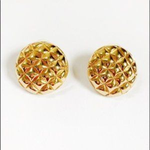 Gold Plated Textured Dome Stud Earrings